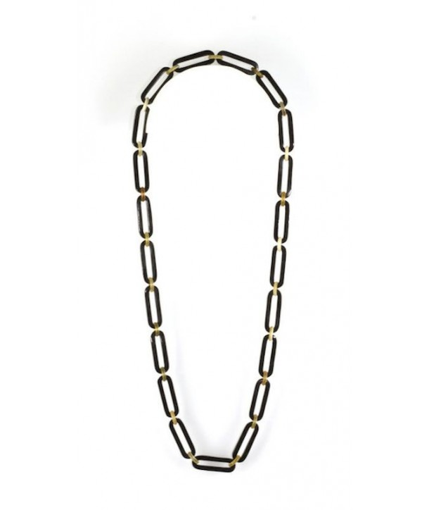 Sautoir anneaux ovales et ronds en corne blonde et noire