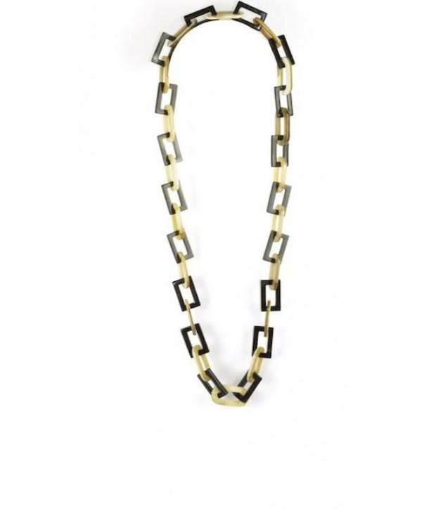 Grand Sautoir anneaux fins ovales et rectangulaires en corne blonde et noire