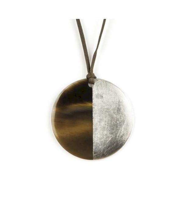 Silver lacquered disc pendant
