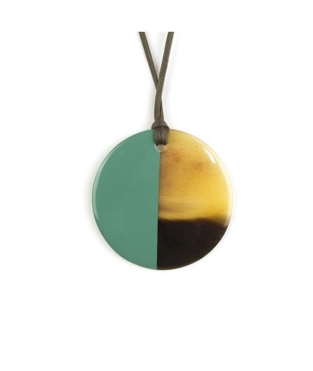 Pendentif disque laqué vert émeraude