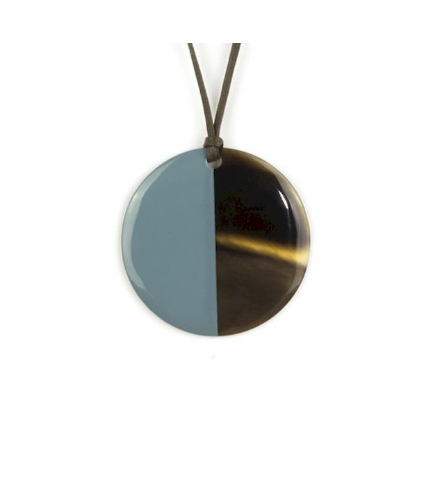 Gray-blue lacquered disc pendant