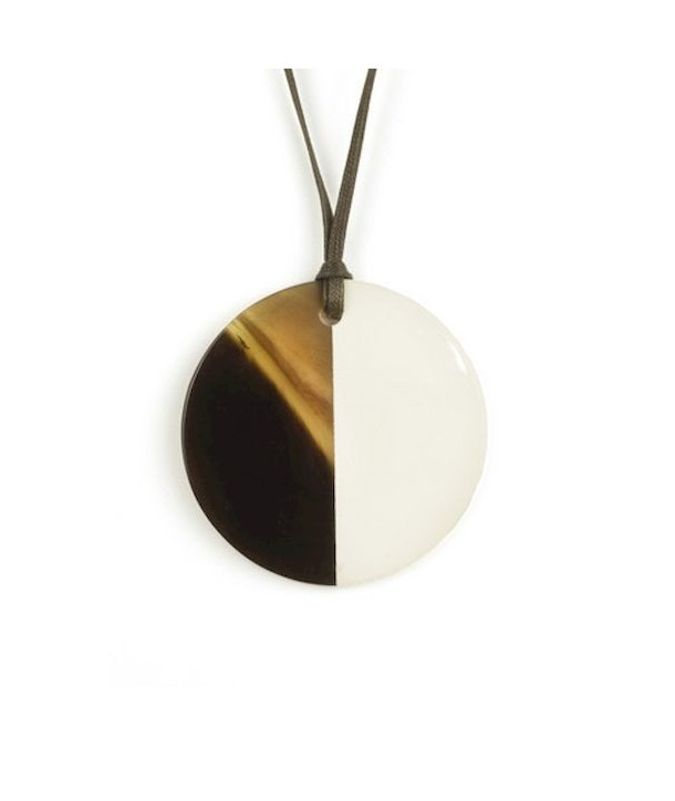 Ivory lacquered disc pendant