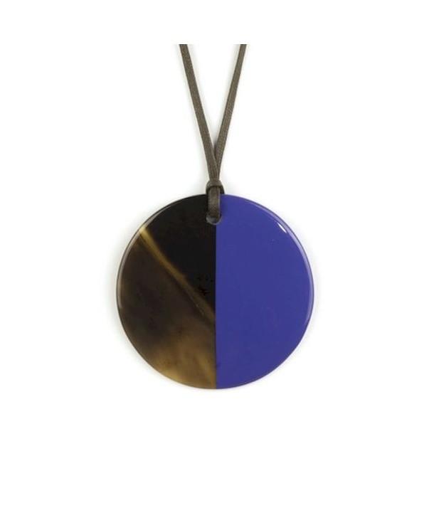 Pendentif disque laqué bleu indigo