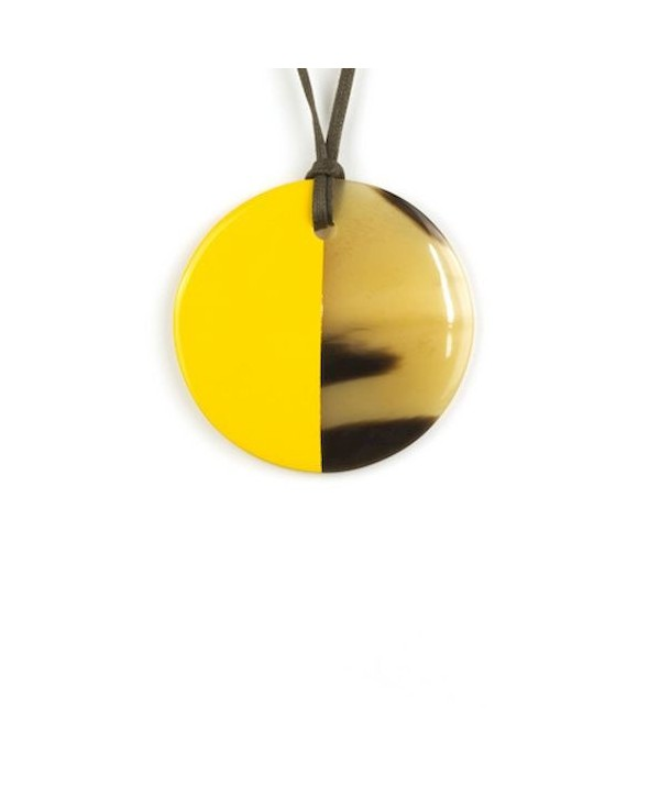 Pendentif disque laqué jaune