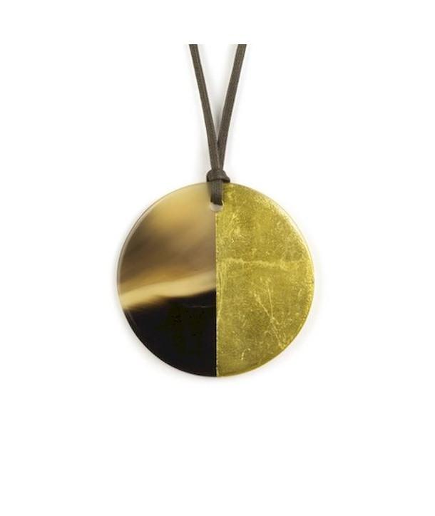 Pendentif disque laqué or