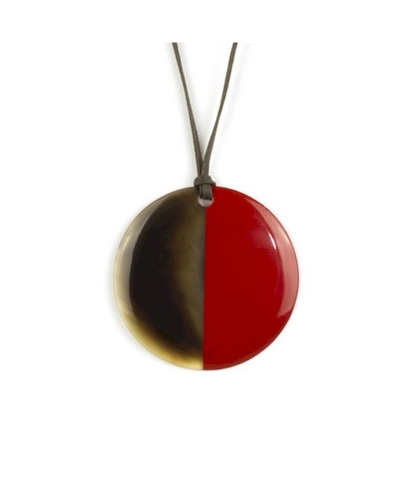 Pendentif disque laqué rouge