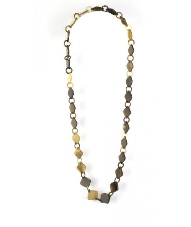 Square pastilles and rings long necklace in hoof