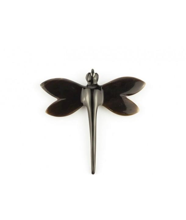 Broche libellule en corne noire unie