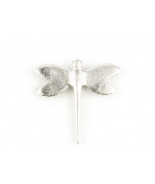 Silver lacquered dragonfly brooch