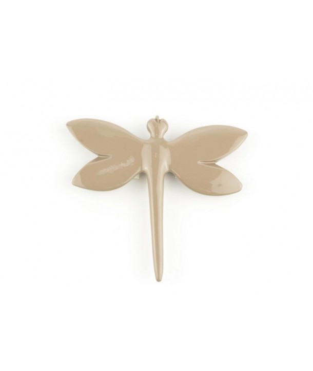 cream coffee lacquered dragonfly brooch