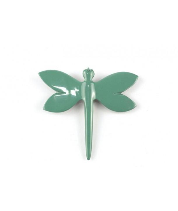 Broche libellule laquée vert émeraude