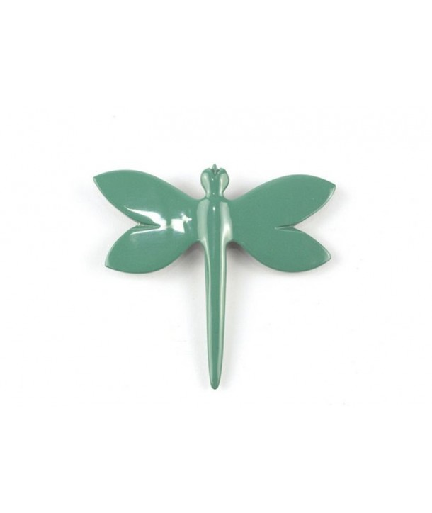 Emerald green lacquered dragonfly brooch