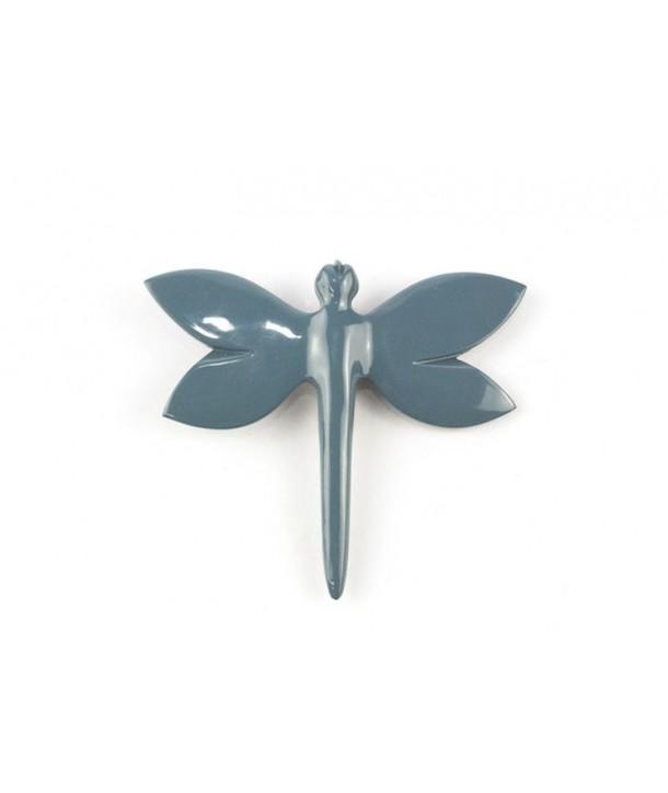 Broche libellule laquée gris-bleu