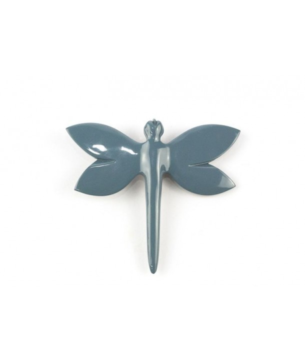 Gray-blue lacquered dragonfly brooch