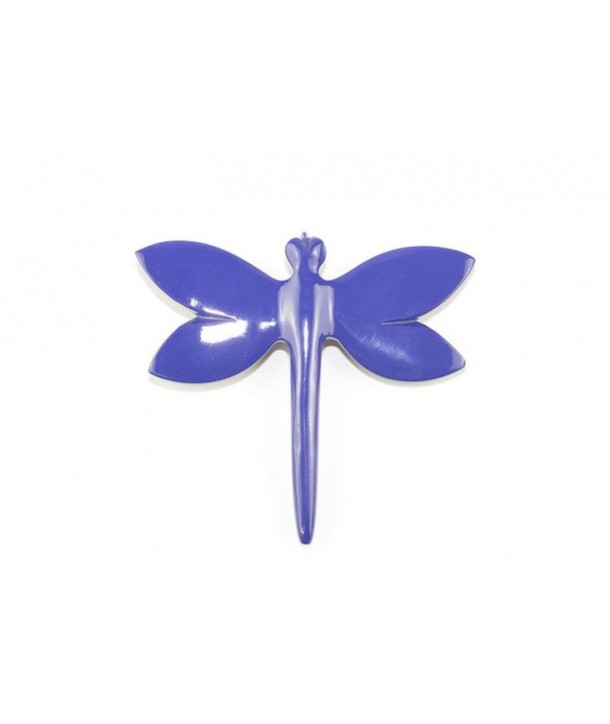 Broche libellule laquée bleu indigo