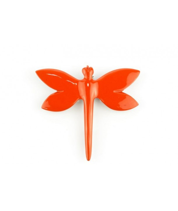 Broche libellule laquée orange