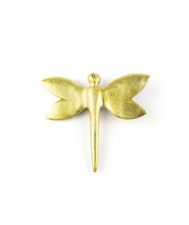 Broche libellule laquée or
