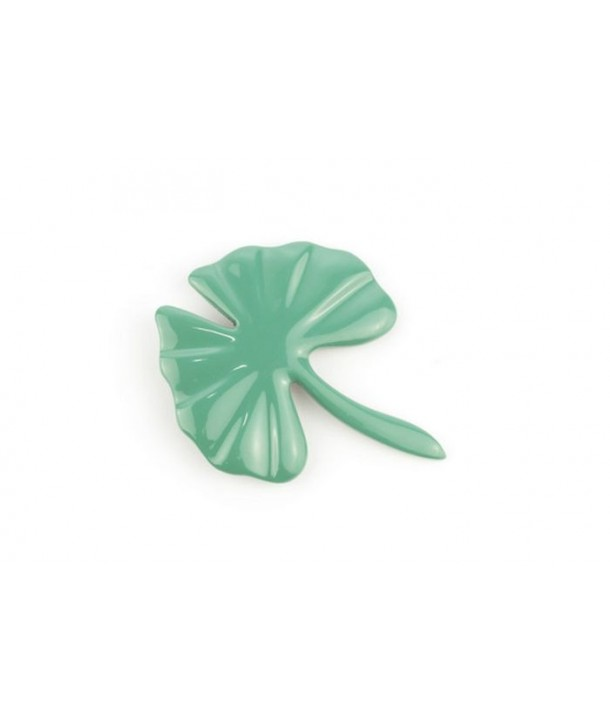 Broche gingko laquée vert émeraude