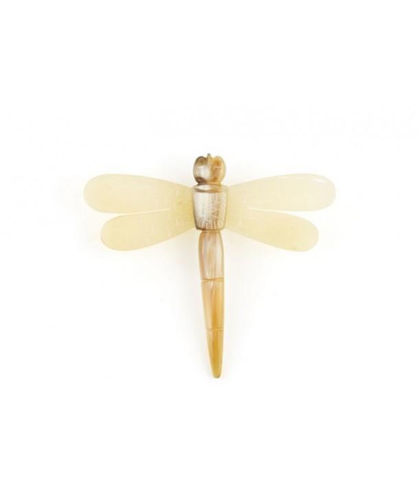 Broche libellule courte en corne blonde