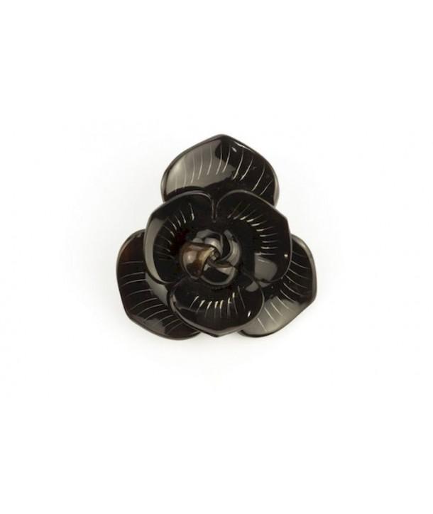 Broche fleur en corne noire unie