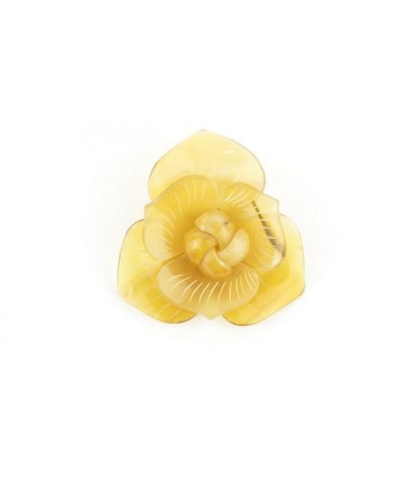 Broche fleur en corne en corne blonde