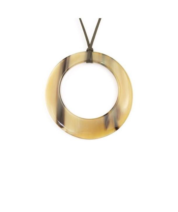 Pendentif grand anneau irrégulier en corne blonde