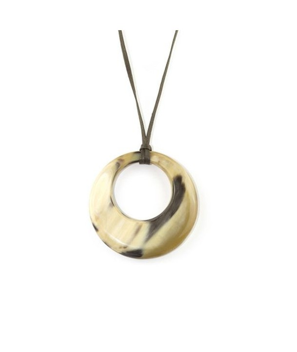 Small irregular ring pendant in blond horn