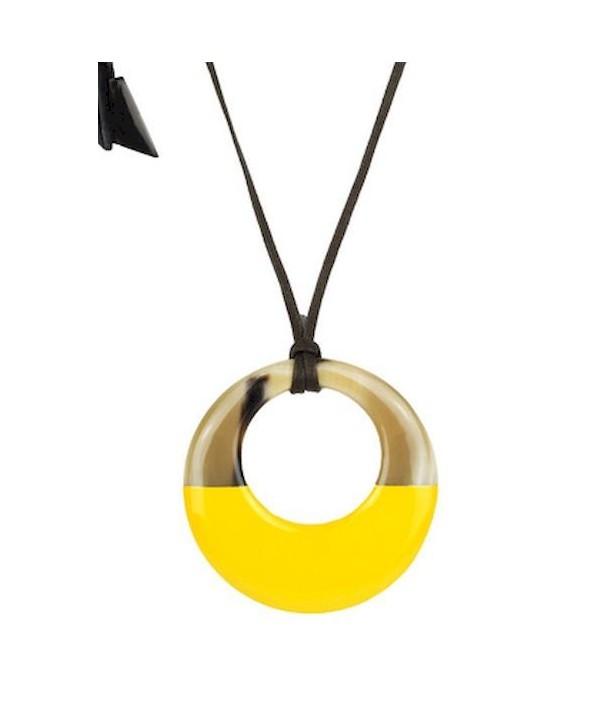 Pendentif petit anneau irrégulier laqué jaune