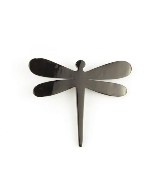 Dragonfly brooch in plain black horn