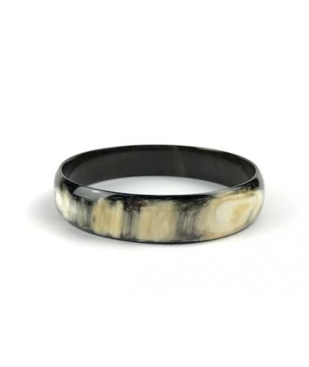Bracelet en corne noire marbrée