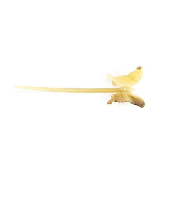 Pique àcheveux papillon en corne blonde