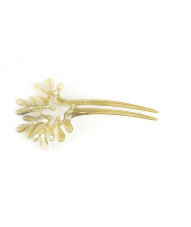 Big double coral hairpin in blond horn