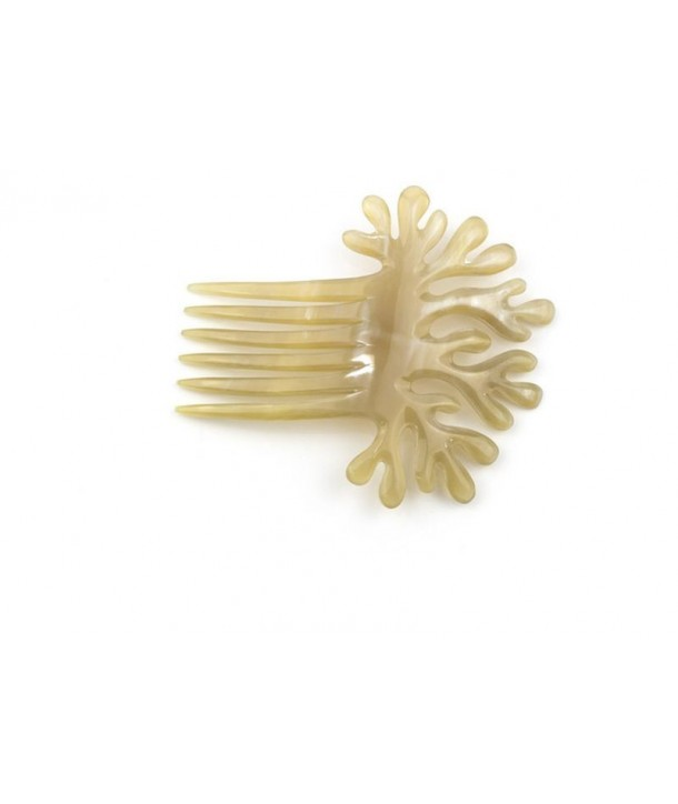 Coral-shaped comb hairpin in blond horn