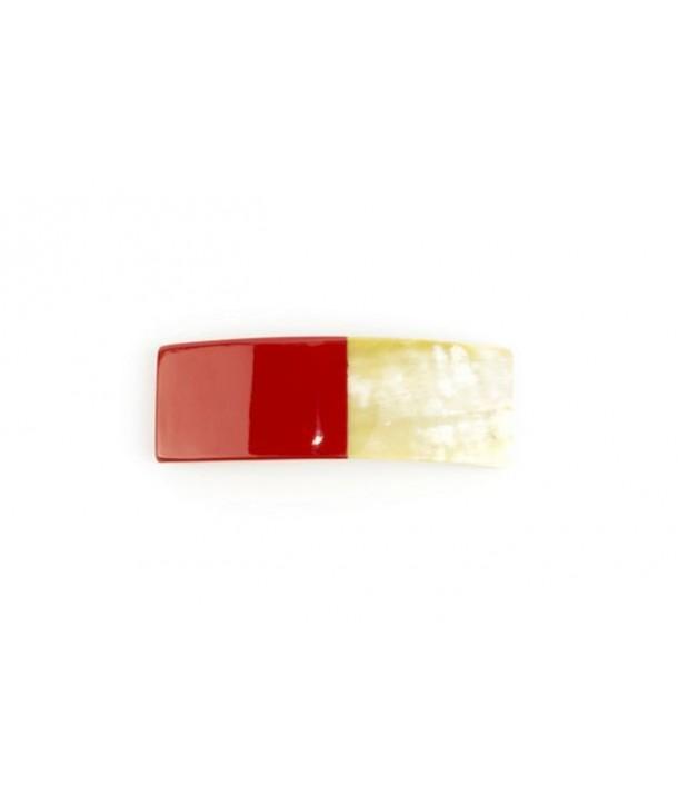 Rectangular barette in red lacquered horn