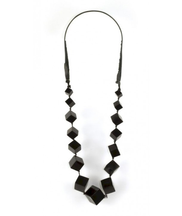 Large black cubes long necklace in plain black horn