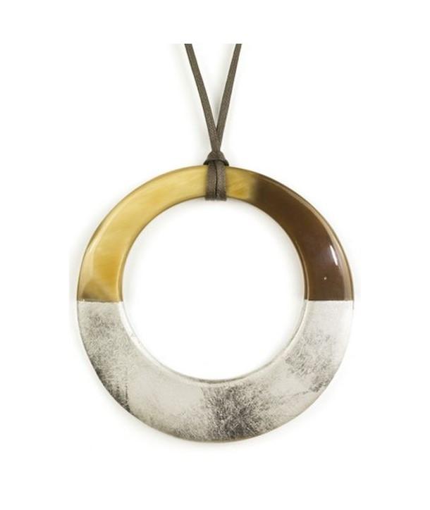 Pendentif grand anneau irrégulier laqué or