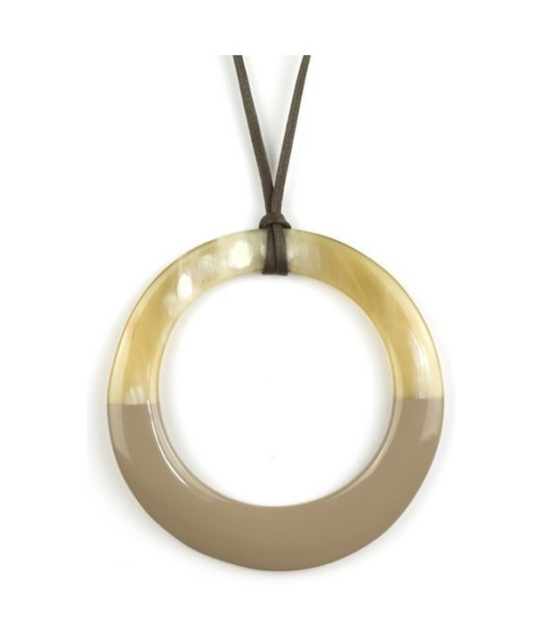 Large cream coffee lacquered irregular ring pendant