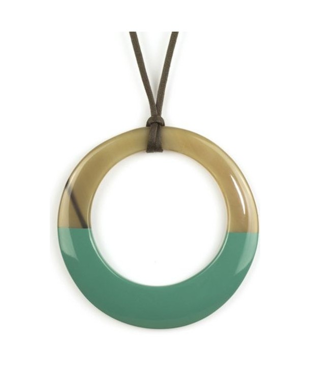 Large emerald green lacquered irregular ring pendant
