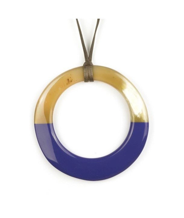 Large lavender lacquered irregular ring pendant