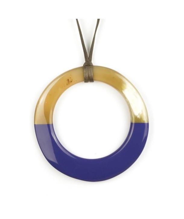 Pendentif grand anneau irrégulier laqué lavande