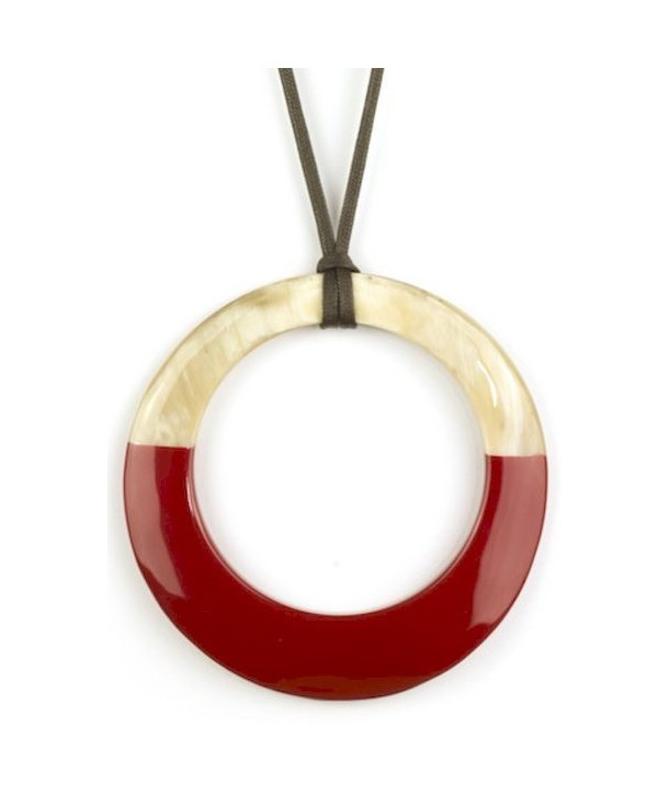 Pendentif grand anneau irrégulier laqué rouge