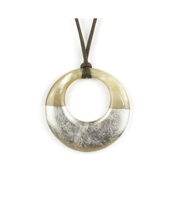 Pendentif petit anneau irrégulier laqué argent