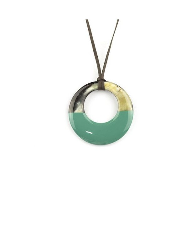 Small emerald green lacquered irregular pendant