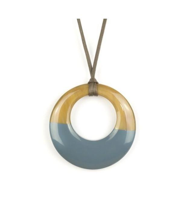 Pendentif petit anneau irrégulier laqué gris-bleu