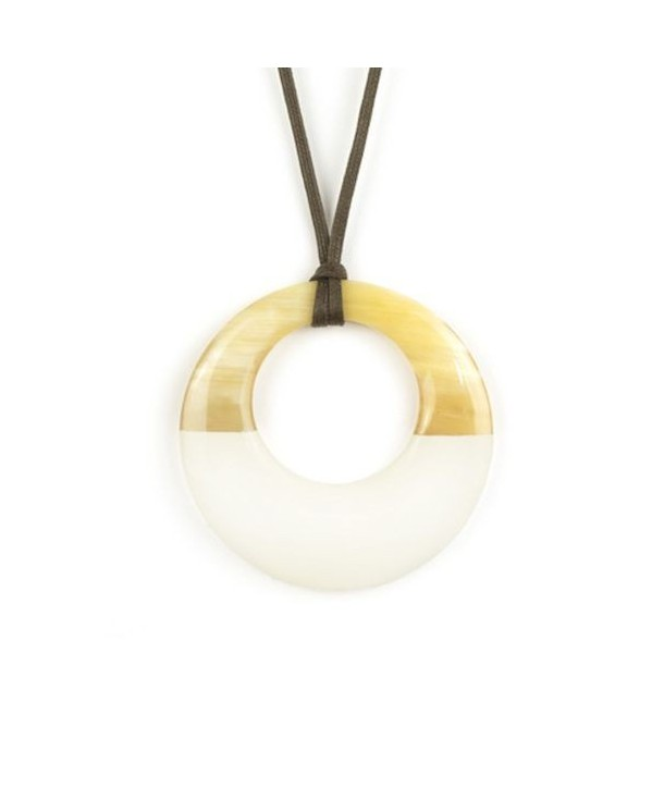 Small ivory lacquered irregular pendant