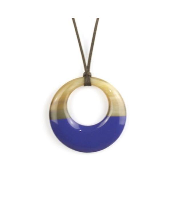 Pendentif petit anneau irrégulier laqué bleu indigo