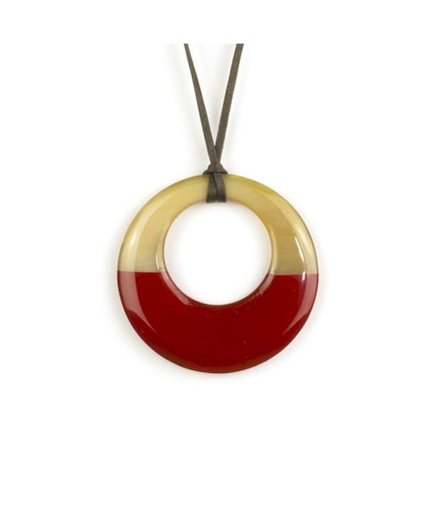 Small red lacquered irregular pendant