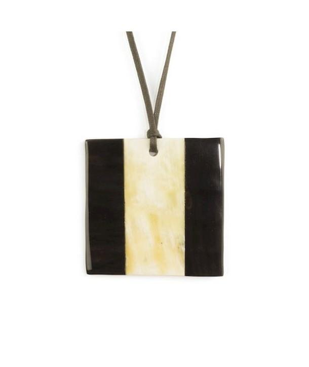 Pendentif carré marqueterie en corne blonde et noire
