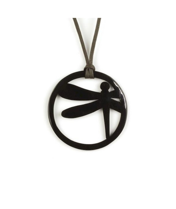 Dragonfly pendant in plain black horn