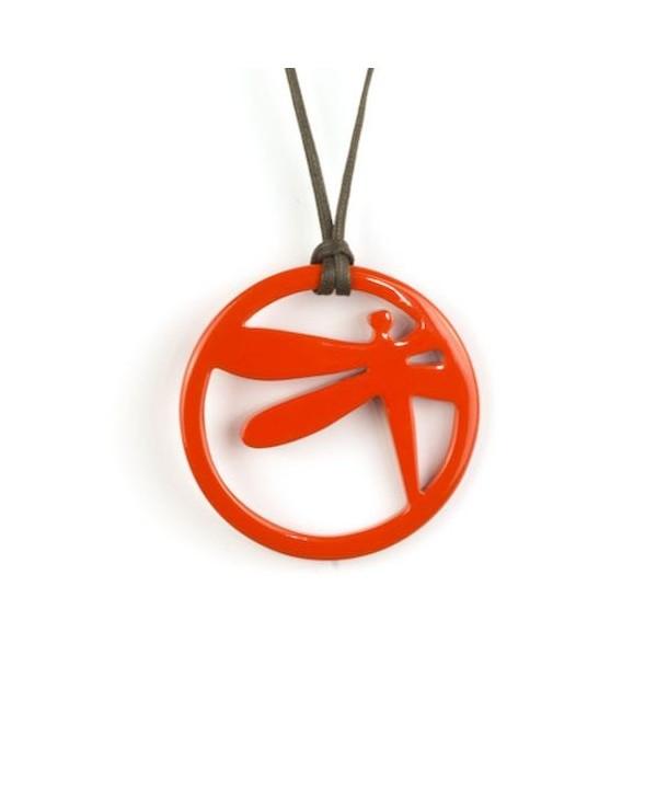 Orange lacquered dragonfly pendant